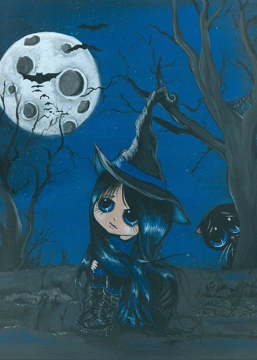 Halloween Greeting Card featuring the painting Tara and Boo Moongazing by Bonnie Brewer