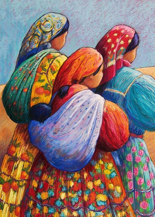 Mexico Greeting Card featuring the pastel Tarahumara Women by Candy Mayer