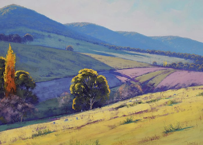 Nature Greeting Card featuring the painting Tarana Pastoral by Graham Gercken