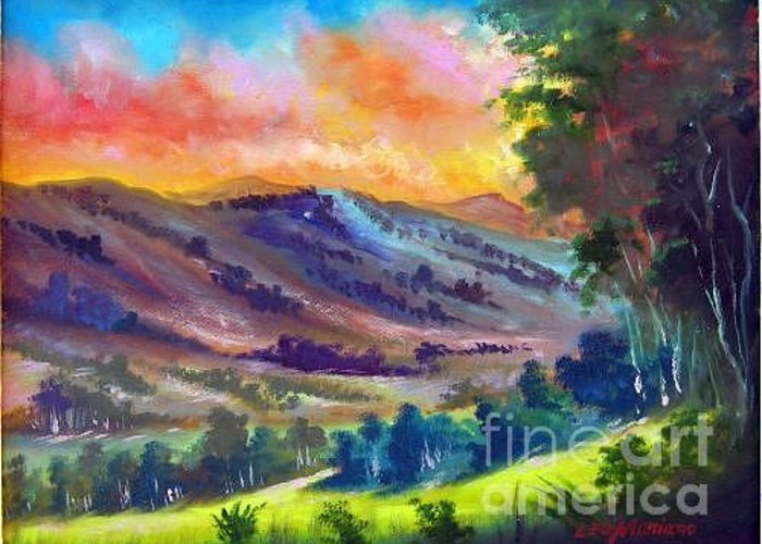 Landscape Greeting Card featuring the painting Tarde De Sol by Leomariano artist BRASIL