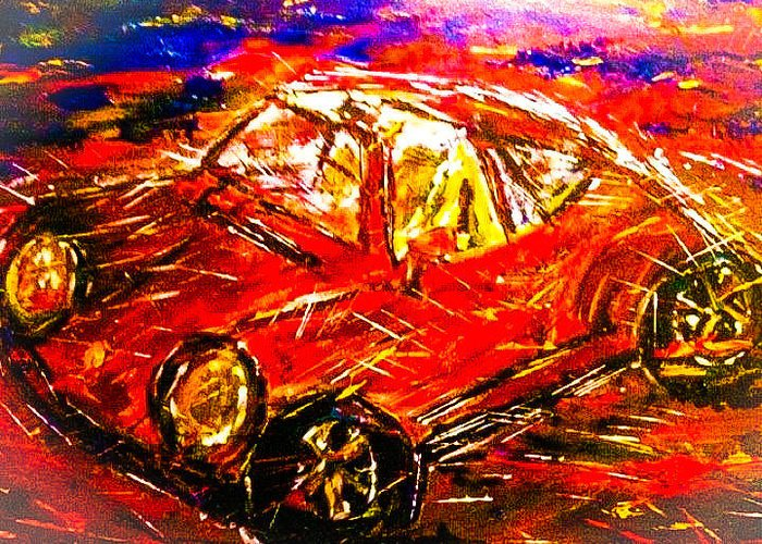 Automobiles Greeting Card featuring the painting Targa by Gary Weiner