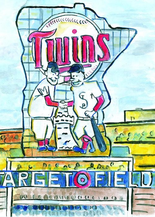 Minnesota Greeting Card featuring the painting Target Field by Matt Gaudian