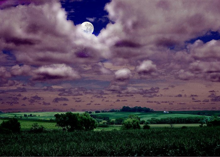 Landscape Greeting Card featuring the photograph Tarkio Moon by Steve Karol