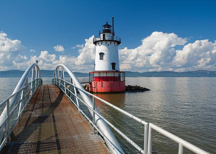 Coastal Greeting Card featuring the photograph Tarrytown Lighthouse Hudson River New York by George Oze
