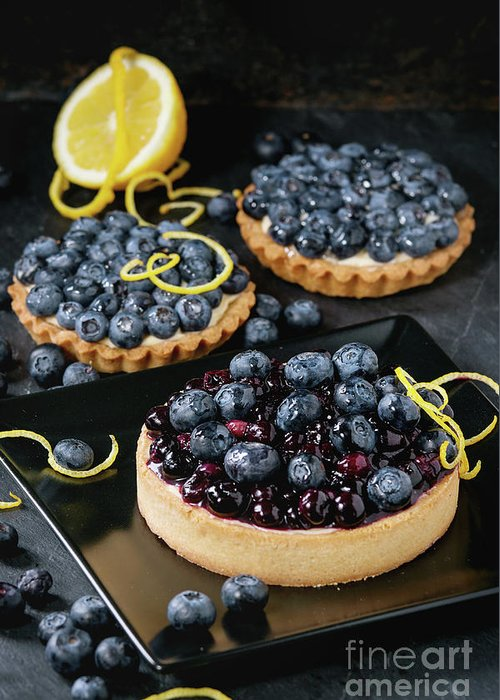 Black Greeting Card featuring the pyrography Tart With Blueberries by Natasha Breen
