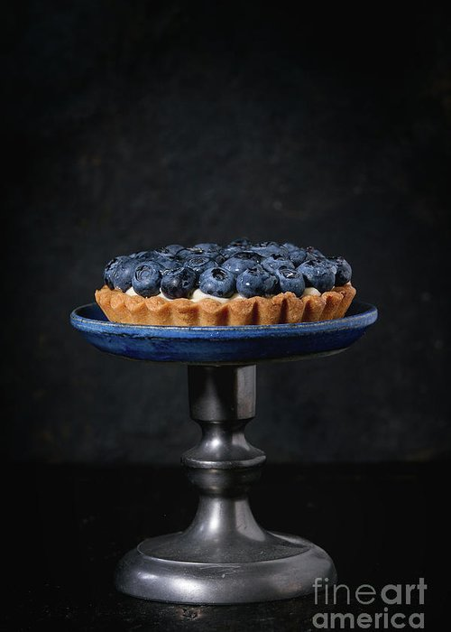 Black Greeting Card featuring the pyrography Tartlet With Blueberries by Natasha Breen
