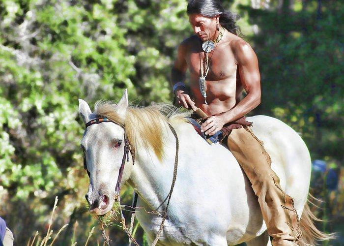 Native American Greeting Card featuring the photograph Tashunka by Samantha Burrow