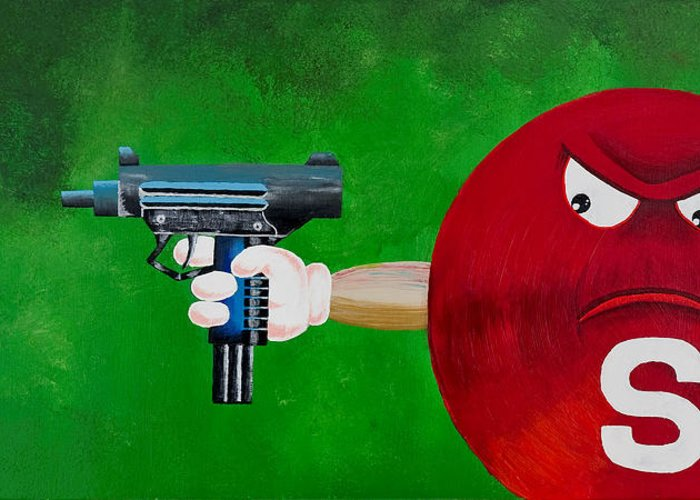 M & M Greeting Card featuring the painting Taste The Rainbow Of Bullets Bitch Part 2 by Chris Fifty-one