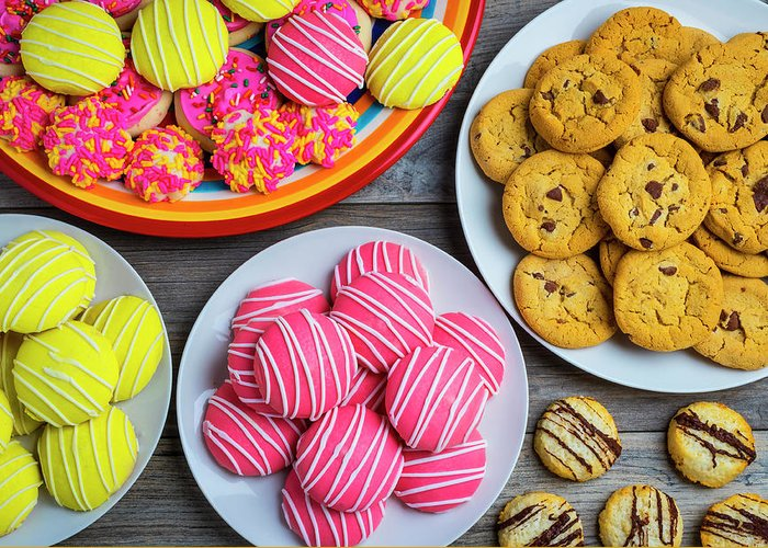 Pile Greeting Card featuring the photograph Tasty Assortment Of Cookies by Garry Gay