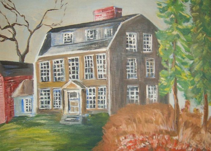 Historical Home Landscape Greeting Card featuring the painting Tate House by Joseph Sandora Jr