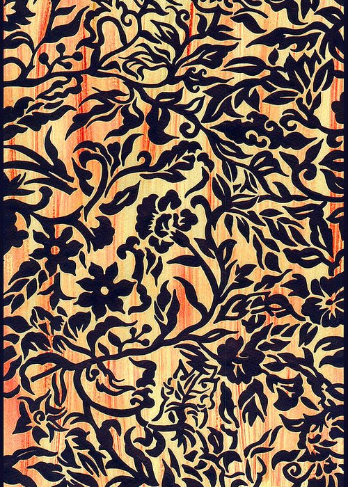 Textile Greeting Card featuring the painting Tatoo Floral by Leslie Marcus
