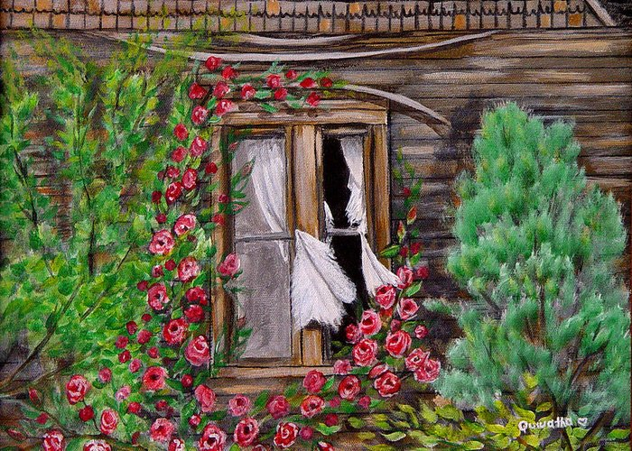 Curtains Greeting Card featuring the painting Tattered Curtains by Quwatha Valentine