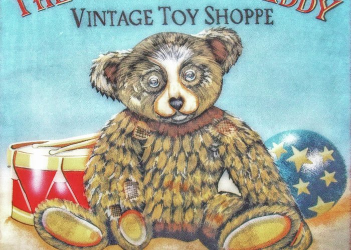Toy Greeting Card featuring the digital art Tattered Teddy Toy Shop Sign Print by Randy Steele