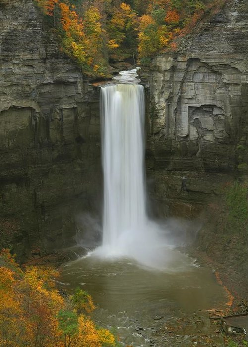Taughannock Greeting Card featuring the photograph Taughannock Falls In Autumn by Jetson Nguyen