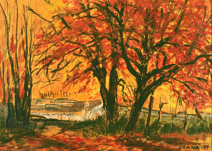 Taughannock Park Greeting Card featuring the painting Taughannock Park Trumansburg New York by Ethel Vrana
