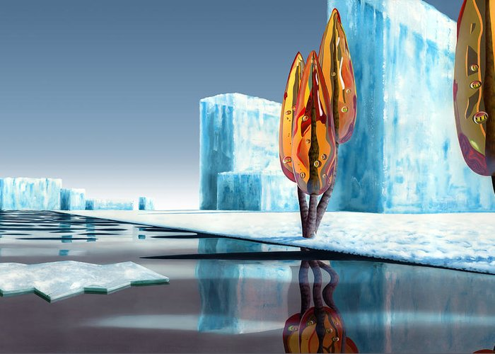 Architecture Greeting Card featuring the painting Taxus Glacialis by Patricia Van Lubeck