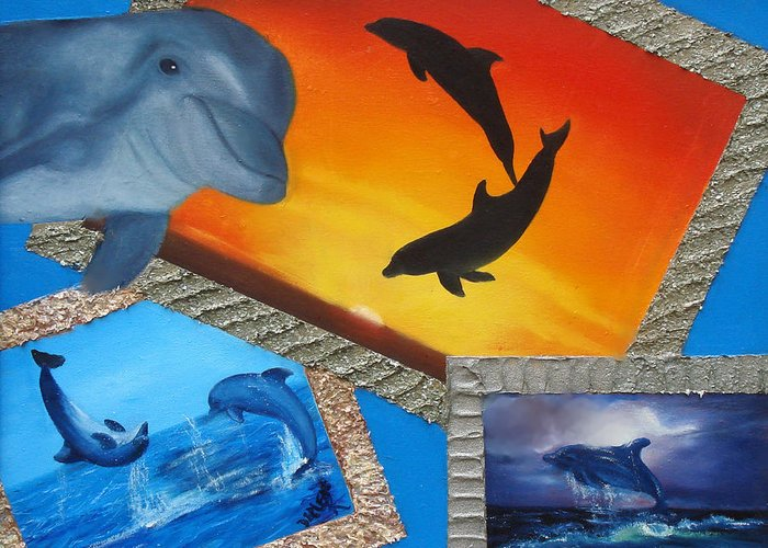 Greeting Card featuring the painting Taylors Dolphins by Darlene Green