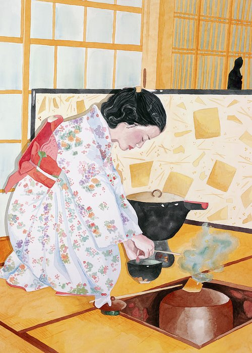 Japanese Woman Performing Tea Ceremony Greeting Card featuring the painting Tea Ceremony by Judy Swerlick