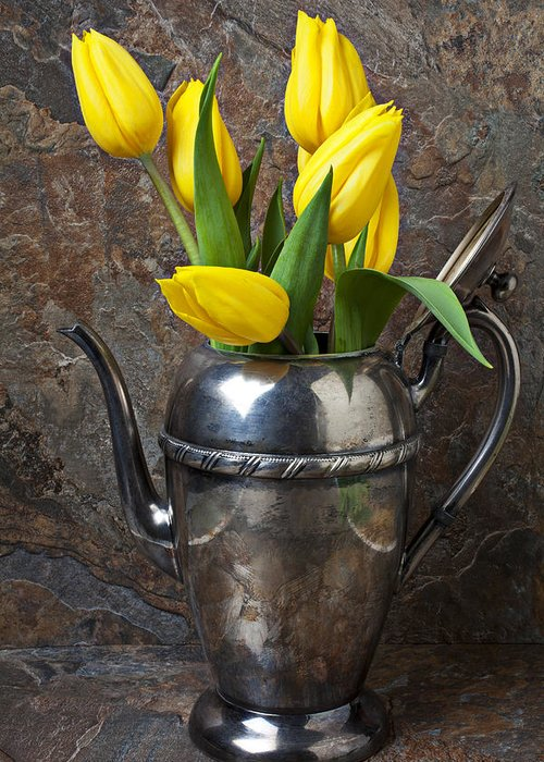 Tea Pot Greeting Card featuring the photograph Tea Pot And Tulips by Garry Gay