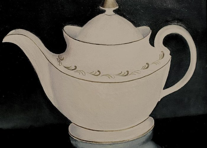Still Life Greeting Card featuring the painting Tea Pot by Keith Bagg