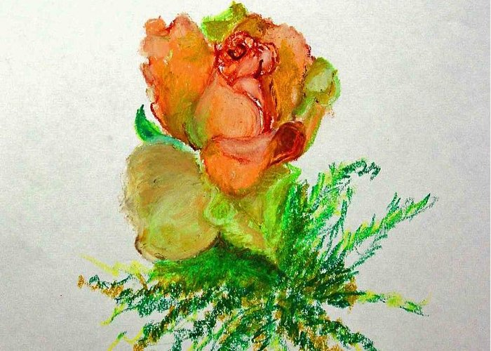 Greeting Card Greeting Card featuring the painting Tea Rose            Copyrighted by Kathleen Hoekstra