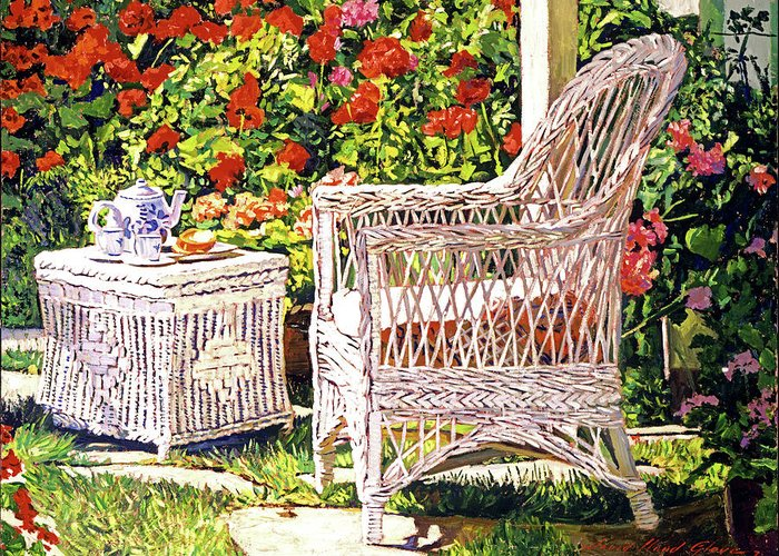 White Wicker Greeting Card featuring the painting Tea Time by David Lloyd Glover