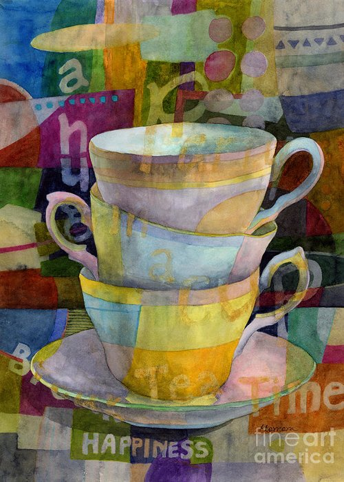 Tea Time Greeting Card featuring the painting Tea Time by Hailey E Herrera