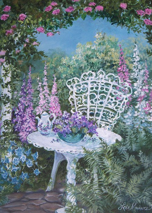 Garden;flowers;teapot;ornamental;roses; Greeting Card featuring the painting Tea Time in the Garden by Lois Mountz
