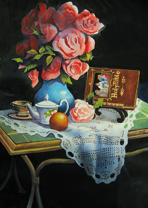 Stillife Greeting Card featuring the painting Tea Time by Robert Carver