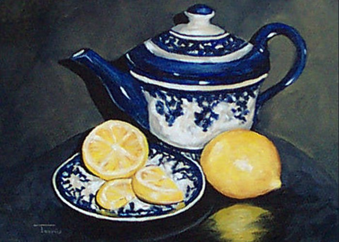 Lemons Greeting Card featuring the painting Tea With Lemons by Torrie Smiley
