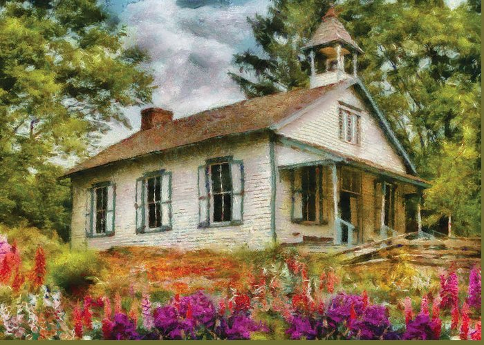 Savad Greeting Card featuring the photograph Teacher - The School House by Mike Savad