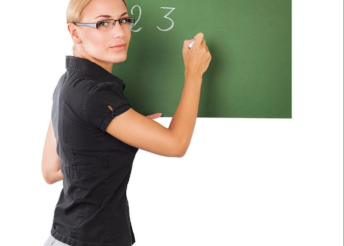 Background Greeting Card featuring the photograph Teacher Writting On Chalkboard by Anna Om