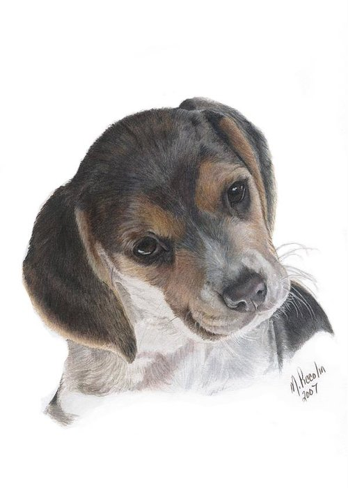 Dogs Greeting Card featuring the painting Teagan by Marlene Piccolin