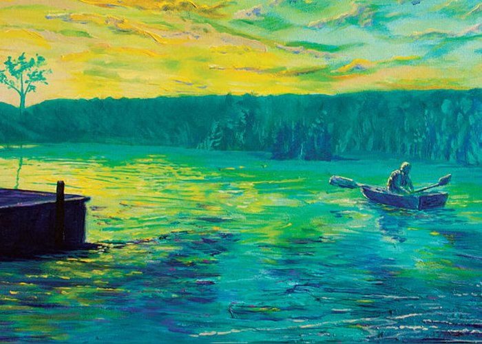 Lake Norris Greeting Card featuring the painting Teal Sunset At Lake Norris by Sean Koziel