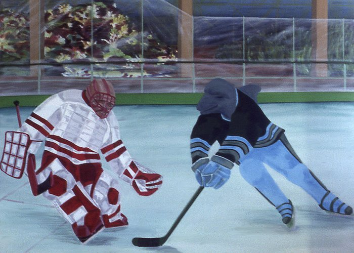 Hockey Greeting Card featuring the painting Team Plane Vs Team Dolphins by Ken Yackel