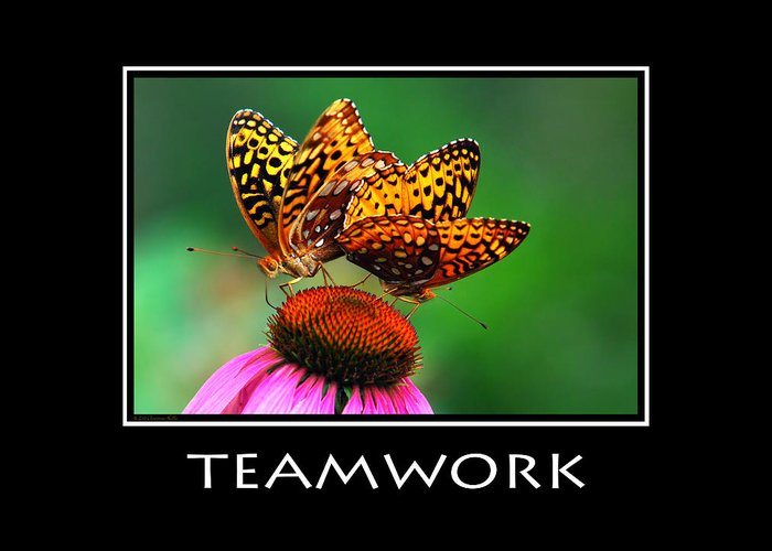 Teamwork Greeting Card featuring the photograph Teamwork Inspirational Motivational Poster Art by Christina Rollo