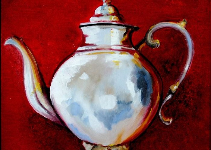 Still Life Greeting Card featuring the painting Teapot by Veronique Chabot