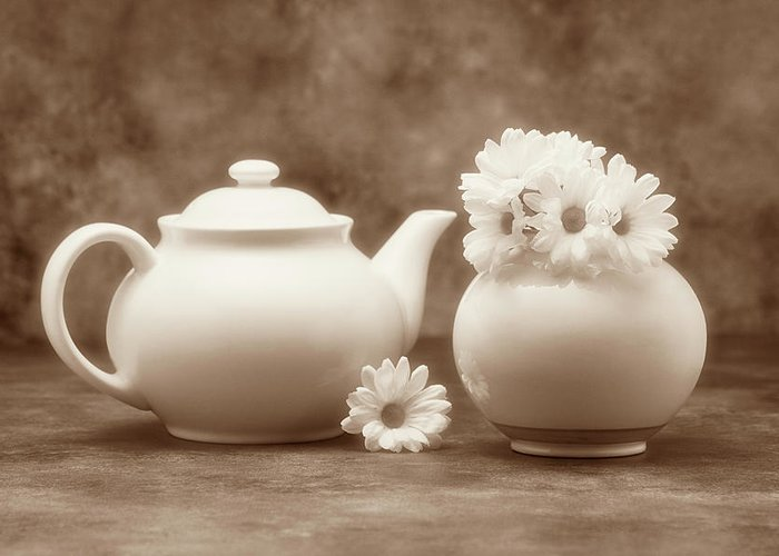 Daisies Greeting Card featuring the photograph Teapot With Daisies II by Tom Mc Nemar