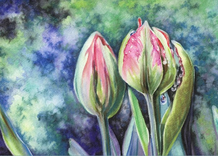 Tulip Greeting Card featuring the painting Tears by Natasha Denger
