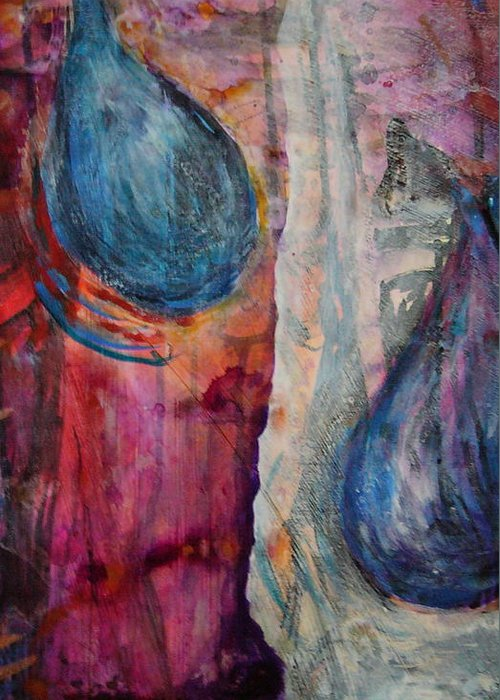 Abstract Greeting Card featuring the painting Tears Of Love by Tracey Flanigan