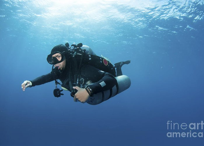 Diver Greeting Card featuring the photograph Technical Diver With Equipment Swimming by Karen Doody