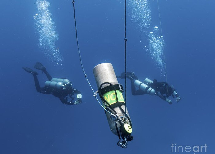 Diver Greeting Card featuring the photograph Technical Divers Ascend Near A Nitrox by Karen Doody