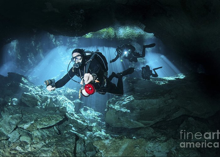 Chac Mool Greeting Card featuring the photograph Technical Divers Enter The Cavern by Karen Doody