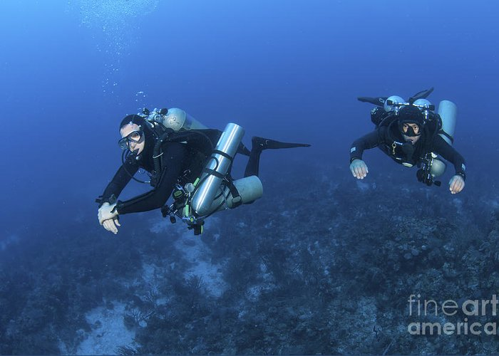 Caribbean Sea Greeting Card featuring the photograph Technical Divers With Equipment by Karen Doody