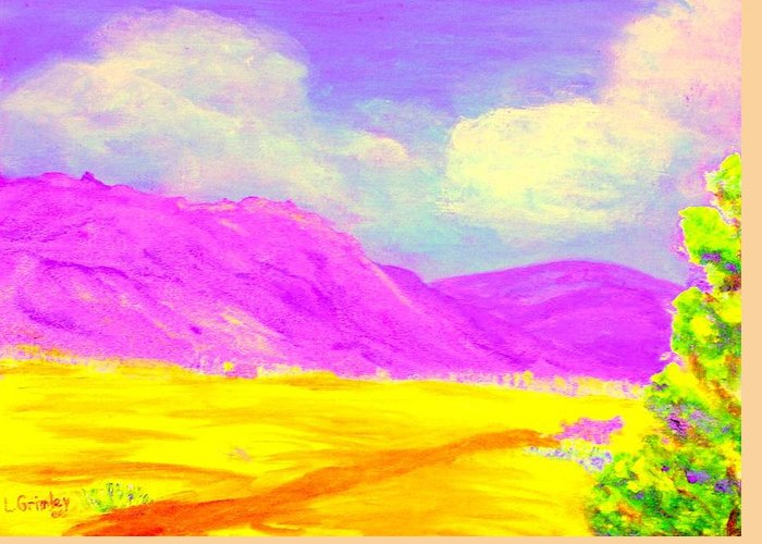 Mountains Greeting Card featuring the painting Technicolor Desert by Lessandra Grimley