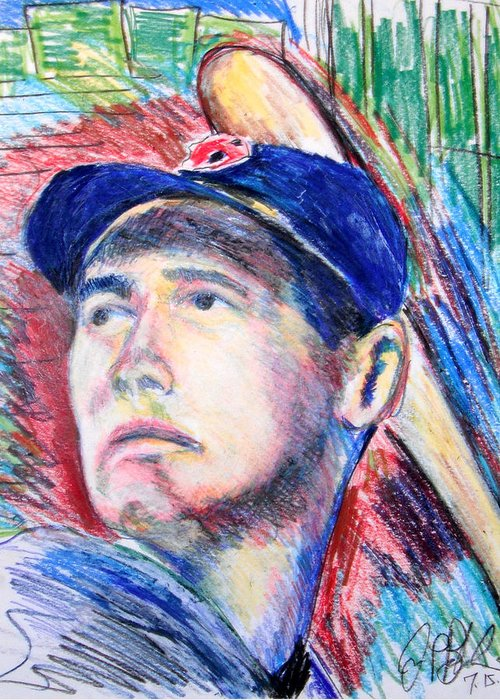 Boston Greeting Card featuring the drawing Ted Williams Boston Redsox by Jon Baldwin Art