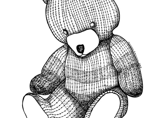 Drawing Greeting Card featuring the drawing Teddy Bear by Karl Addison