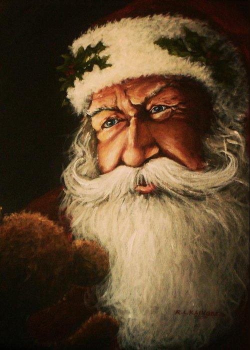 Santa Greeting Card featuring the painting Teddy Bear by Richard Klingbeil