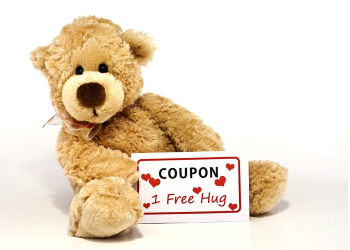 Coupon Greeting Card featuring the photograph Teddy Bear With Hug Coupon by Blink Images
