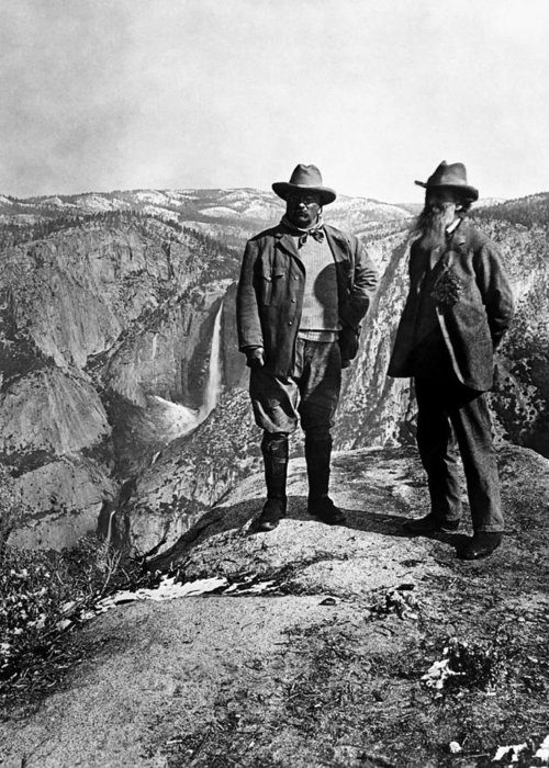 President Roosevelt Greeting Card featuring the photograph Teddy Roosevelt And John Muir - Glacier Point Yosemite Valley - 1903 by War Is Hell Store